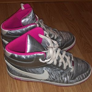 Silver and pink Nike high tops 💓